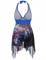 Sapphire Blue Asymmetric Two Pieces Beachwear Big Size Weekend Time