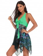 Beach Green Backless Two Pieces Swimming Dress Plus Size Women Outfits