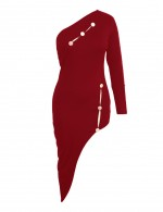 Casually Wine Red Single Shoulder Bodycon Dress Hollow Out For Romans