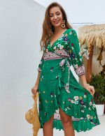 Ravishing Green Irregular Wrap A-Line Dress Floral Print Delightful Garment