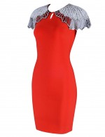 Laid-Back Red Front Keyhole Bodycon Dress With Zip For Playing