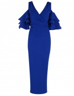 Fashionable Blue With Zip Bandage Dress Ruffle Sleeve Chic Online