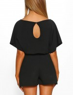 Sultry Black Short Sleeves Jumpsuits Keyhole Back Women Fashion Style