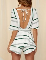 Kinetic Green Waist Tie Ruffled Jumpsuits Open Back At Great Prices‎