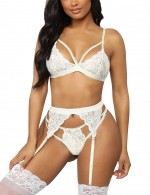 White Lace Slender Straps Big Size Bralette Set Midnight