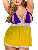 Yellow Adjustable Straps Large Size Lace Babydoll Set