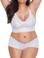 High Quality Wire Free Bralette Set Push Up White Cheeky Thong