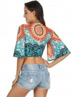 Fetching Sun-Protective Knotted Short Cover Ups Print Chic Fashion