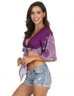 Adult Cropped Printed Beachwear Plunging Neck Fashion Style