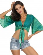 Brightly Bohemian Cropped Deep V Neck Beachwear Bowknot For Fashion