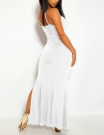 White Spaghetti Straps Asymmetrical Dress Slit Fashion Style