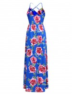 Comfy Deep V Ruched Blue Maxi Dress Floral Pattern Eye Catcher