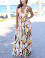 Pleated White Print Backless Dress Maxi Length For Shopping