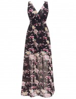 Black Floral Print Favorite Empire Waist Maxi Dress Open Back