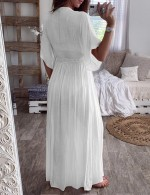 White Mesh Lace Patchwork Waist Tie Dress Feminine Confidence