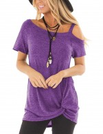 Individualized Purple Cold Shoulder Tops Short Sleeves Women