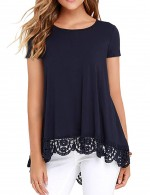 Elegant Navy Blue High-Low Plain Tops Lace Patchwork Womens Clothing