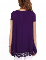 Smooth Purple Pleated Swing Tops Solid Color Soft