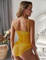 Best Price Yellow Perspective Lace Bodysuit High Cut Legs All-Match