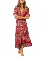 Red V Neck Short Sleeves Boho Dress Irregular Hem Garment