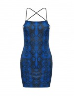 Noble Criss Cross Navy Blue Tight Dress Serpent Pattern
