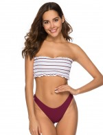 Appealing Pinstripe Multicolor Ribbed Bathing Suit Latest Styles