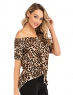 Female Leopard Pattern Knot Top Short Sleeves