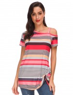 Sophisticated Red One Cold Shoulder Twist Hem Stripe Shirt Heartbreaker