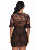 Genunie Black Lace Mesh Short Sleeve Babydoll Set Tie Lightweight