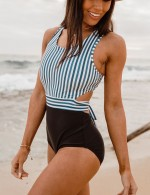 Zip Contrast Color Swimwear One Piece Vacation Time