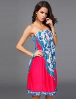 Ethereal Midi Length Rose Red Print Folk Dress Superior Quality