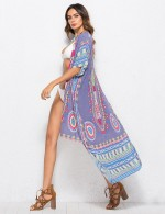 Bodycon Fit Light Purple Folk Print Cardigan Half Sleeves Women