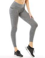 Grey Quick Dry High Waist Sport Pants Elasticity Fitness