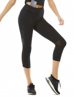 Black Reflective Strips Mesh Patchwork Sport Legging For Women