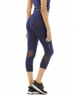 Noble High Waist Dark Blue Sport Bottoms Mesh Patchwork