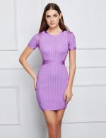 Marvellous Light Purple Zipper Back Rib Mini Bandage Dress Natural