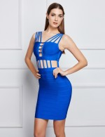 Sultry Blue Strappy Cut Out Bandage Dress Backless Womens Apparel