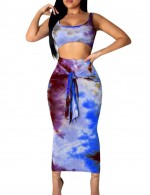Faddish Elastic Waist Blue Skirt Set Sleeveless Latest Styles
