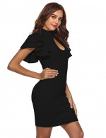 Suave Black Zipper Back Pencil Dress Defined Waist Womens Apparel