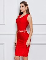 Tantalizing Red V Collar Zipper Grain Bandage Dress Versatile Item