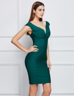 Stretchable Green Backless Cap Sleeves Bandage Dress Ultimate Comfort