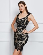 Stretch Black Floral Lace Shoulder Tie Bandage Dress Backless