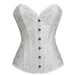 White Floral Pattern Lace Up Back Overbust Corset