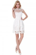 White Hollow Out Sleeveless Lady Dress