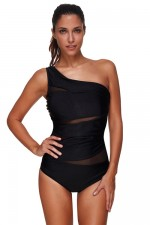 Distinctive Ruching Large Black One Shoulder Swimsuit Mesh