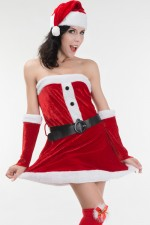 Festive Santa Sweetie Strapless Faux Fur Costume Christmas