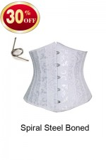 Pure White Body Shaper Corset Steel Boned Underbust Corset