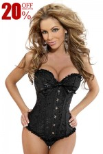 Black Floral Plus Size Strapless Bow Ruched Trim Bridal Overbust Corset