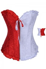 Red And White Brocade Overbust Corset