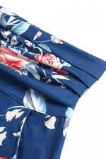 Elegant Deep Blue Long Skirt Print Ruffle Waistband